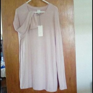 Long sleeve top, muted mauve tone